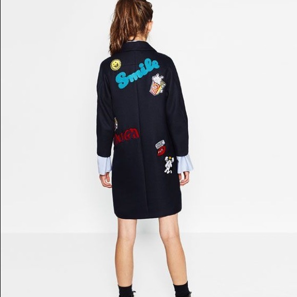 6b1d4301 Zara Jackets & Coats | Nwt Navy Blue Pop Wool Coat With Patches ...
